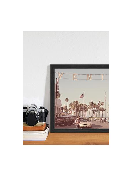 Ingelijste digitale print Venice Beach, Afbeelding: digitale print op papier,, Lijst: gelakt hout, Multicolour, 43 x 33 cm