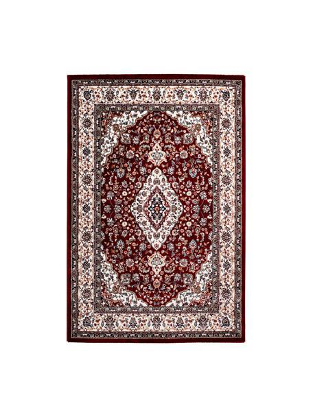 Tappeto rosso scuro in stile orientale Isfahan, 100% poliestere, Rosso scuro, multicolore, Larg. 80 x Lung. 150 cm (taglia XS)