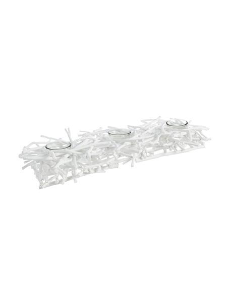 Windlicht-Set Recto, 4-tlg., Windlicht: Glas, Halterung: Holz, beschichtet, Transparent, Weiss, 70 x 10 cm
