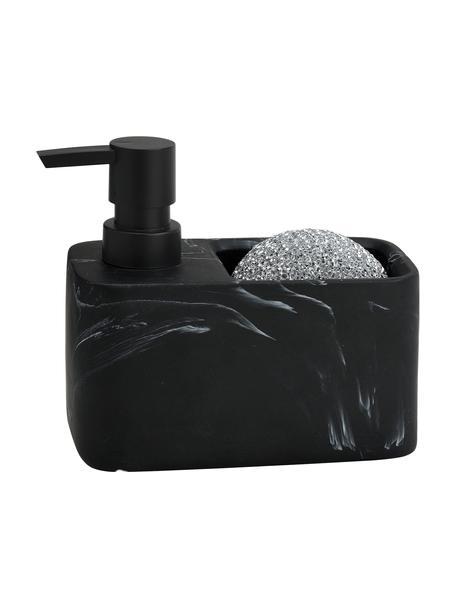 Set lavavajillas Galia, 2pzas., Recipiente: poliresina, Dosificador: plástico, Estropajo: metal, Mármol negro, plateado, An 15 x Al 14 cm