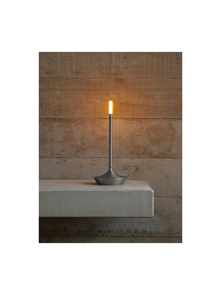 Kleine mobiele dimbare tafellamp Wick met touch functie, Lampvoet: aluminium, gerecycled en , Lampenkap: kunststof, Grafiet, Ø 12 x H 26 cm