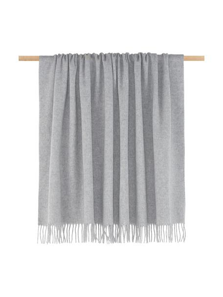 Manta de lana Lena, 100%lana virgen, ligeramente áspera, Gris claro, An 130 x L 170 cm
