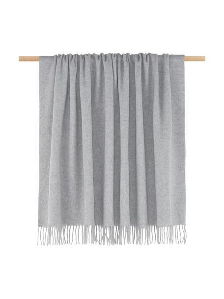 Plaid in lana vergine Lena, 100% lana vergine, con una sensazione ruvida, leggermente graffiante, Grigio chiaro, Larg. 130 x Lung. 170 cm
