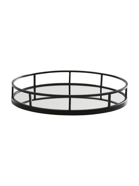 Vassoio decorativo ovale Jemma, Cornice: metallo rivestito, Superficie: lastra di vetro, Nero, Larg. 38 x Alt. 6 cm