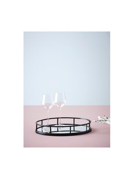 Ovaal decoratief dienblad Jemma, Frame: gecoat metaal, Blad: spiegelglas, Zwart, 38 x 6 cm