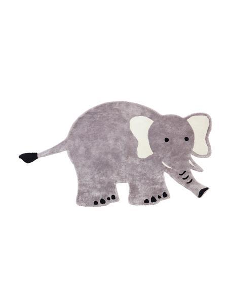 Viskoseteppich Ellie Elephant, 100% Viskose, 4600 g/m², Grau, Schwarz, Weiß, B 100 x L 180 cm (Größe S)