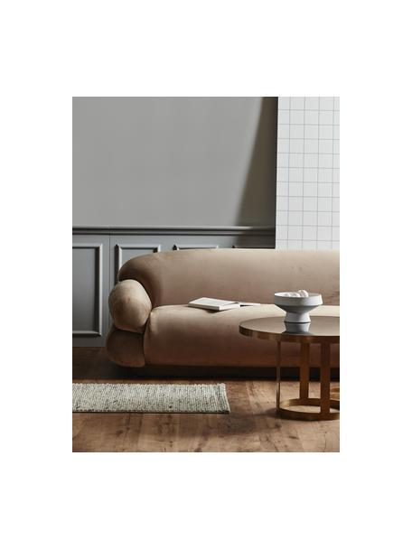 Fluwelen bank Sofie (3-zits) in bruin, Bekleding: polyester fluweel, Voetstuk: essenhout, Bruin, 214 x 72 cm