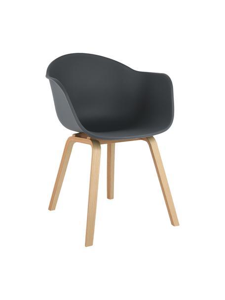 Krzesło z podłokietnikami z tworzywa sztucznego Claire, Nogi: drewno bukowe, Siedzisko: ciemnoszary Nogi: drewno bukowe, S 60 x G 54 cm