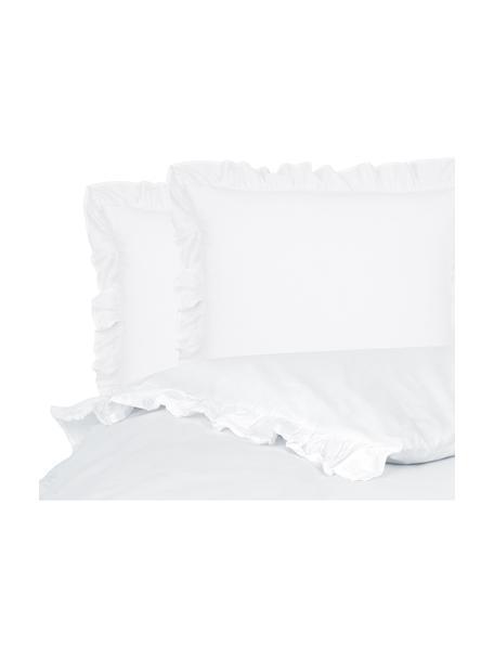 Parure copripiumino in cotone lavato Florence, Bianco, 200 x 200 cm