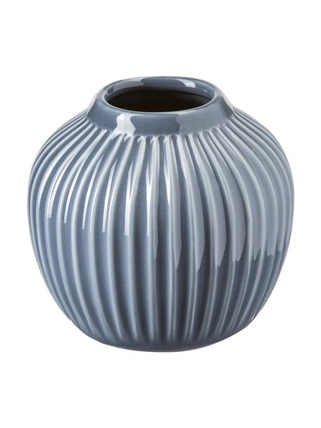 Jarrón artesanal de diseño Hammershøi, Porcelana, Gris antracita, Ø 14 x Al 13 cm