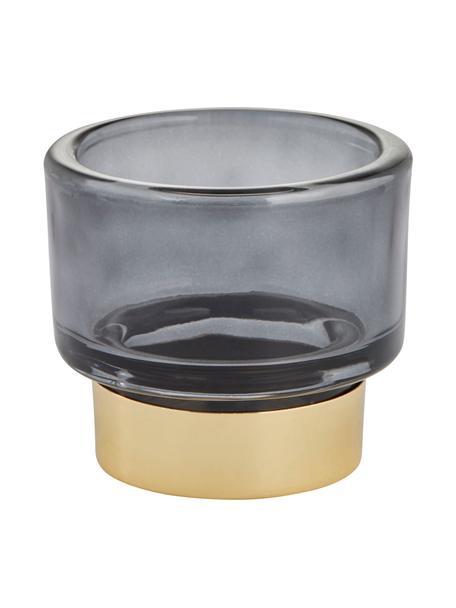 Handgemaakte waxinelichthouder Miy, Glas, Donkergrijs, transparant, goudkleurig, Ø 8 cm