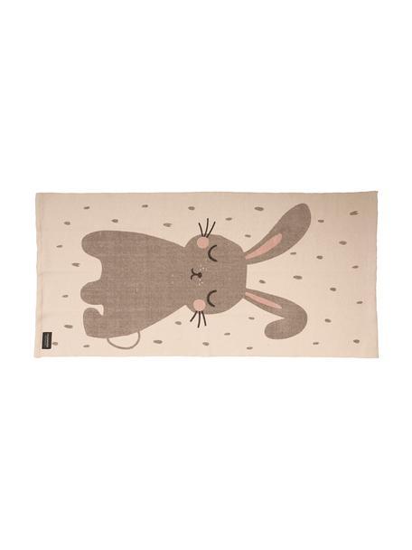 Tappeto in cotone con coniglietto Rabbit, Cotone, Bianco spezzato, Larg. 70 x Lung. 140 cm