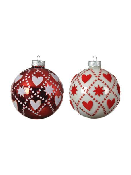 Weihnachtskugeln Karo Ø 8 cm, 4 Stück, Rot, Weiss, Ø 8 cm