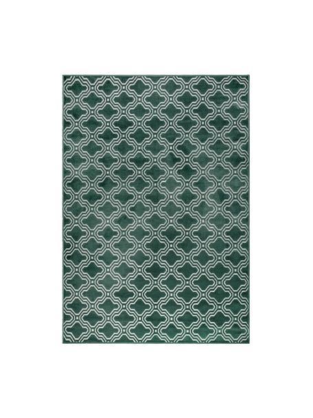 Tappeto con effetto a rilievo verde scuro Feike, Retro: retro in gomma sintetica, Verde, Larg. 160 x Lung. 230 cm (taglia M)
