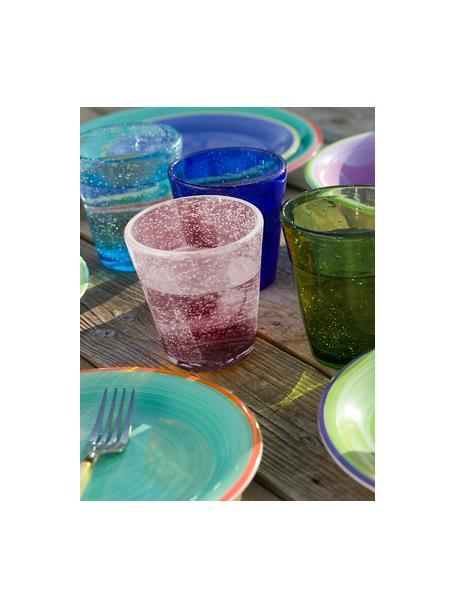Mundgeblasene Wassergläser Cancun in Lila mit Luftbläschen, 6 Stück, Glas, mundgeblasen, Lila, Ø 9 x H 10 cm