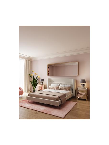 Łóżko tapicerowane Tivoli, Korpus: lite drewno eukaliptusowe, Tapicerka: 100% poliester, Nogi: stal malowana proszkowo, Ecru, S 160 x D 200 cm
