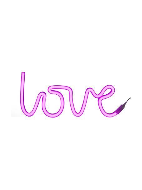 LED wandlamp Love, Lamp: BPA-vrij PVC, Lichtkleur: roze. Wanneer uitgeschakeld, wordt het LED lampje wit, 38 x 16 cm
