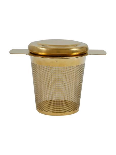 Metalen theezeef Universal in goudkleur met deksel, Gecoat edelstaal, Messingkleurig, 10 x 8 cm