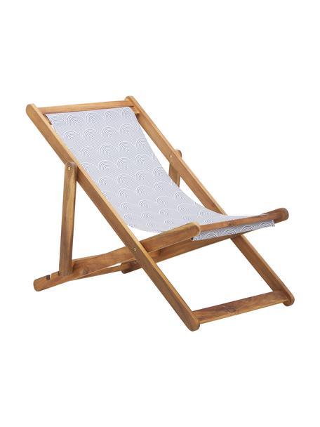 Inklapbare ligstoel Zoe, Frame: massief geolied acaciahou, Grijs, 59 x 84 cm