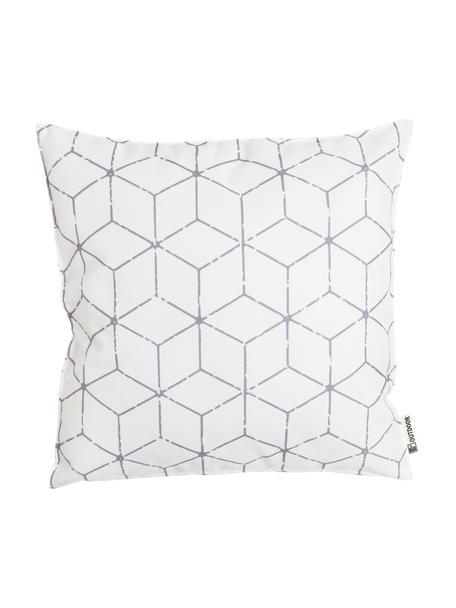 Outdoor kussen Cube met grafisch patroon in grijs/wit, met vulling, 100% polyester, Wit, grijs, 47 x 47 cm