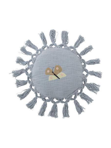 Cojín redondo de algodón reciclado Elinna, con relleno, Tapizado: 100%algodón reciclado, Azul, Ø 36 cm