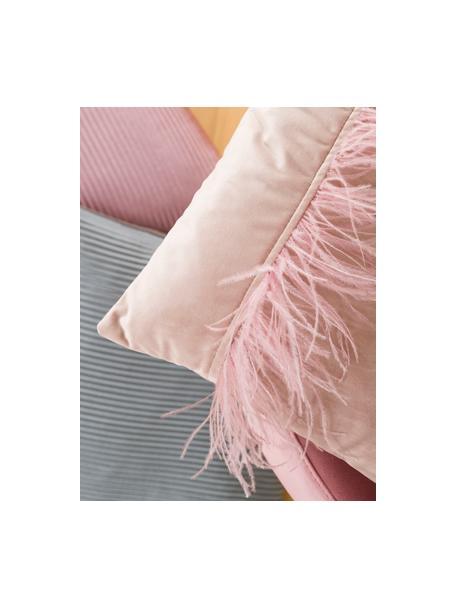 Poszewka na poduszkę z aksamitu Ostrich, Blady różowy, S 40 x D 40 cm