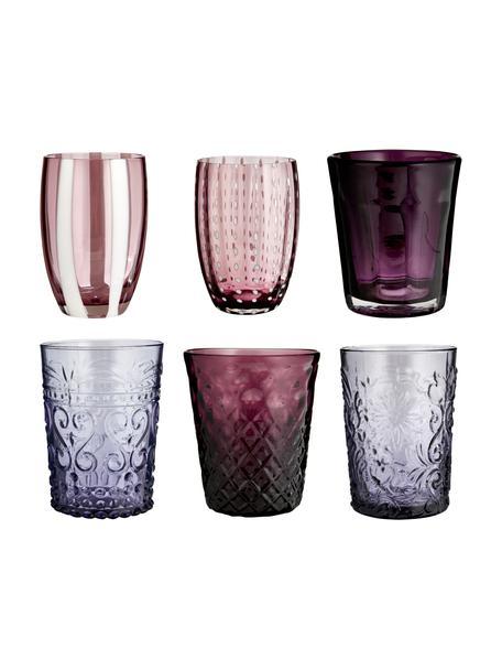 Mundgeblasene Wassergläser Melting Pot Berry in verschiedenen Designs und Beerentönen, 6er-Set, Glas, Blautöne, Rottöne, Ø 7-9 x H 10-11 cm