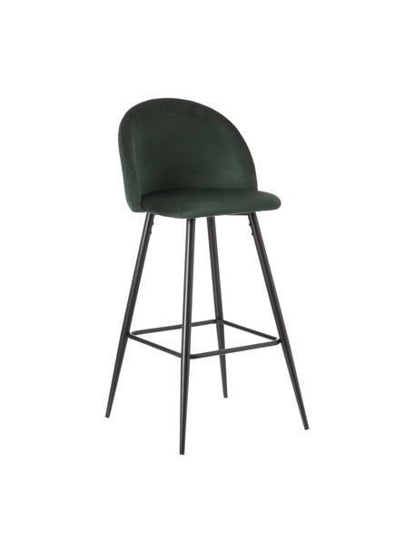 Taburete alto con respaldo Maxine, Tapizado: 100%poliéster, Patas: metal recubierto, Verde oscuro, negro, An 48 x Al 102 cm