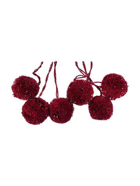 Pompons Lurex, 6 Stück, Baumwolle mit Lurexfaden, Weinrot, Goldfarben, Ø 4 x H 13 cm