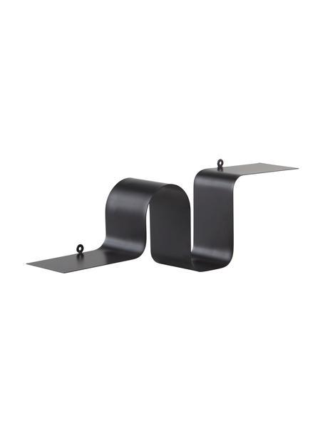 Metalen wandrek Caterpillar in zwart, Gecoat metaal, Zwart, 64 x 19 cm