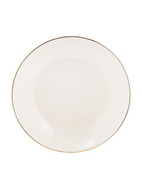 Handgemachte Suppenteller Allure mit goldfarbenem Rand, 6 Stück, Keramik, Weiß, Goldfarben, Ø 21 cm