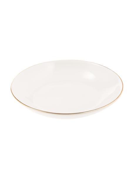 Handgemachte Suppenteller Allure mit goldfarbenem Rand, 6 Stück, Keramik, Weiss, Goldfarben, Ø 21 cm