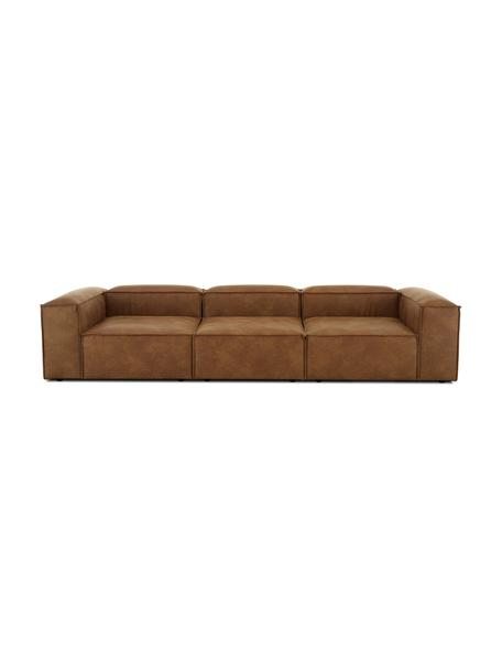 Sofa modułowa ze skóry z recyklingu Lennon (4-osobowa), Tapicerka: skóra z recyklingu (70% s, Nogi: tworzywo sztuczne Nogi zn, Brązowy, S 326 x G 119 cm