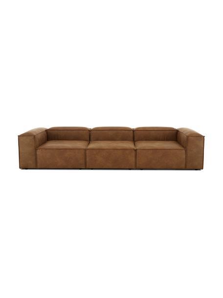 Sofá modular de cuero Lennon (4plazas), Tapizado: cuero reciclado (70%cuer, Estructura: madera de pino maciza, ma, Patas: plástico Las patas están , Cuero marrón, An 327 x F 119 cm