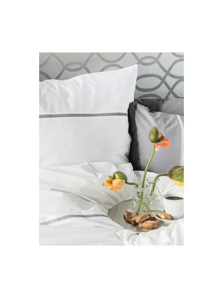 Poszewka na poduszkę z perkalu Mari, 2 szt., Biały, szary, S 40 x D 80 cm