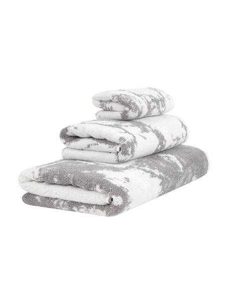 Handdoekenset Malin met marmer-print, 3-delig, Grijs, crèmewit, Set met verschillende formaten