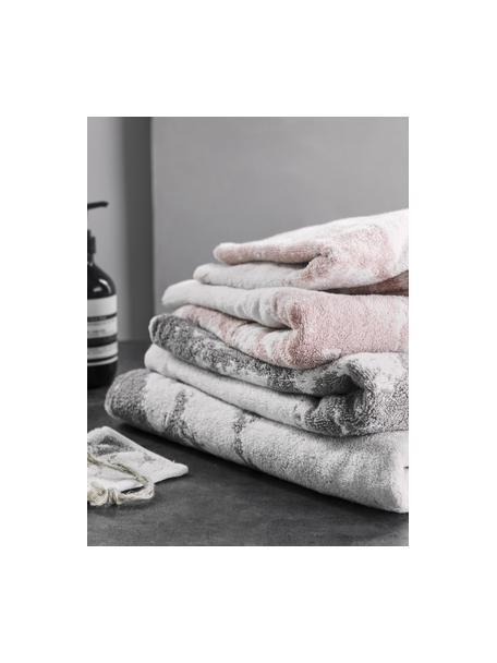 Set de toallas Marmo, 3pzas., Gris, blanco crema, Set de diferentes tamaños