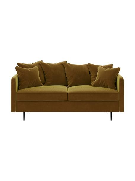 Sofá de terciopelo Esme (2plazas), Tapizado: 100%terciopelo de poliés, Estructura: madera dura, madera bland, Patas: metal recubierto Alta res, Amarillo, An 176 x F 96 cm