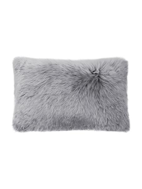 Federa arredo in pelle di pecora color grigio chiaro liscia Oslo, Retro: lino, Grigio, Larg. 30 x Lung. 50 cm