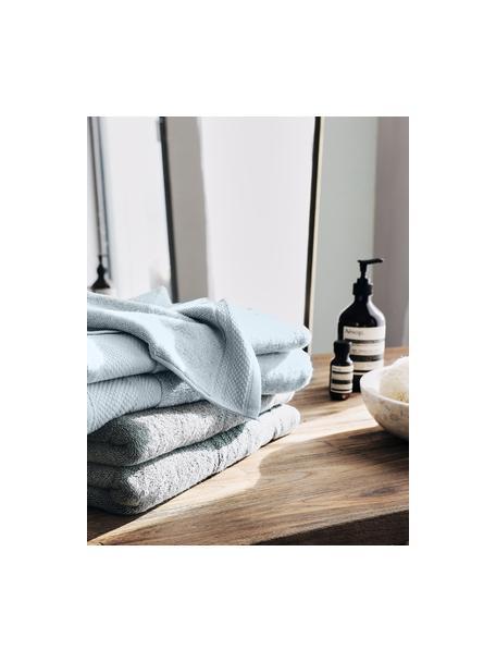 Set 3 asciugamani con bordo decorativo Premium, Azzurro, Set in varie misure