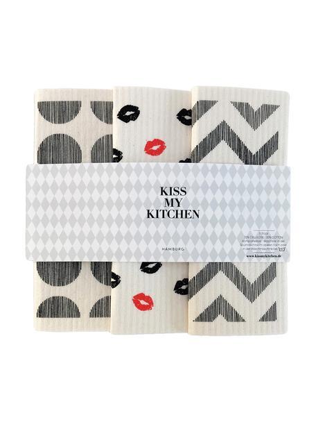 Komplet ściereczek kuchennych Paris, 3 elem., 70% celuloza, 30% bawełna, Biały, szary, czerwony, S 17 x D 20 cm