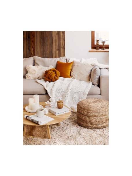 Divano angolare in tessuto beige Zach, Rivestimento: polipropilene Il rivestim, Sottostruttura: truciolato e legno massic, Tessuto beige, Larg. 300 x Prof. 213 cm