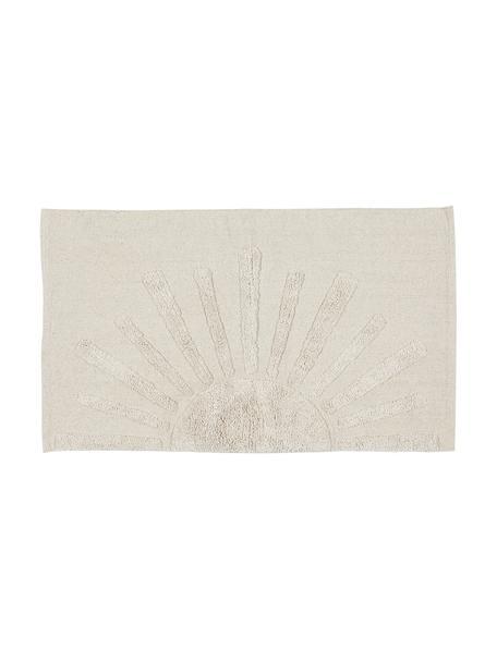 Tappeto bagno in cotone bio con motivo a rilievo Sun, 100% cotone biologico Non antiscivolo, Grigio pietra, Larg. 60 x Lung. 90 cm