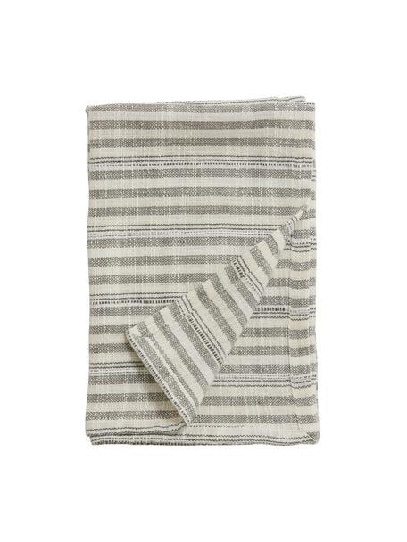 Gestreifte Baumwoll-Geschirrtücher Gemma, 2 Stück, 100% Baumwolle, Weiß, Schwarz, 52 x 68 cm