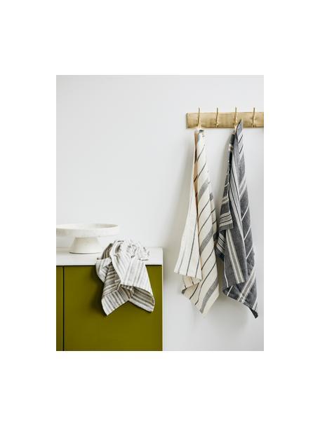 Theedoeken Gemma, 2 stuks, 100% katoen, Wit, zwart, 50 x 70 cm