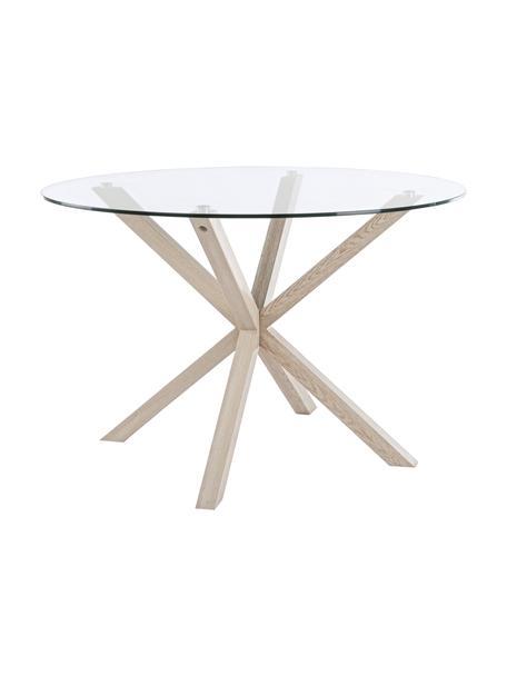 Tavolo rotondo con piano in vetro May, Piano d'appoggio: vetro, temperato, Gambe: metallo, sventato con imi, Trasparente, legno di quercia, Ø 114 x Alt. 76 cm