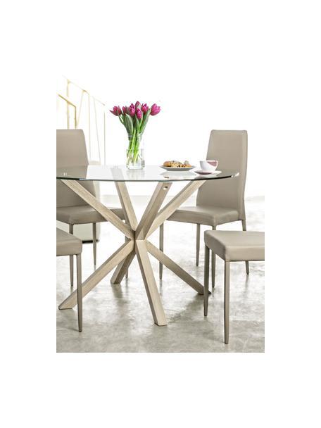 Runder Esstisch May mit Glasplatte, Tischplatte: Glas, gehärtet, Beine: Metall, foliert mit Eiche, Transparent, Ø 114 x H 76 cm