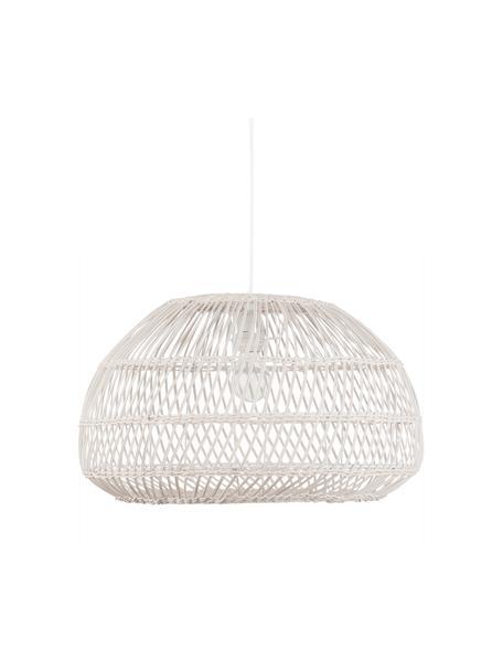 Hanglamp Melody van rotan, Lampenkap: rotan, Baldakijn: kunststof, Gebroken wit, Ø 51 x H 30 cm