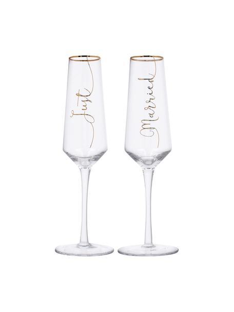 Champagneglazen Just Married met gouden opschrift, 2 stuks, Glas, Transparant, goudkleurig, Ø 6 x H 26 cm