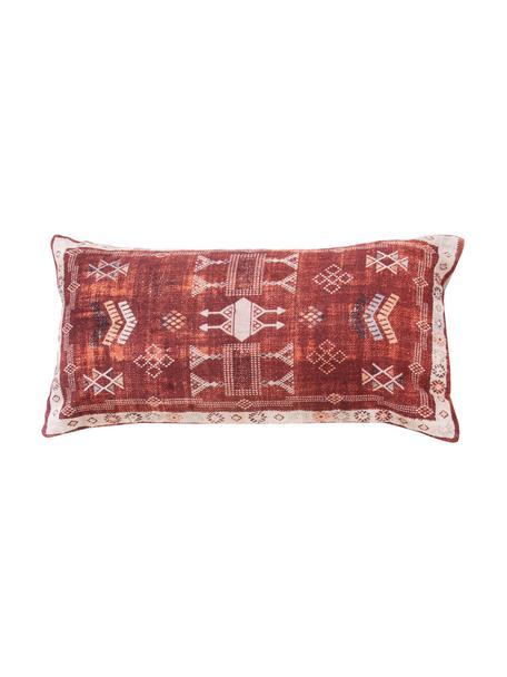 Boho kussenhoes Tanger in rood/wit, 100% katoen, Rood, beige, 30 x 60 cm